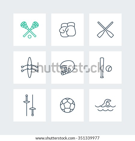 sports and games line icons in squares, vector illustration