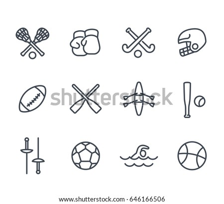 sports and games line icons on