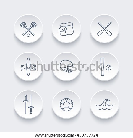 sports and games line icons set