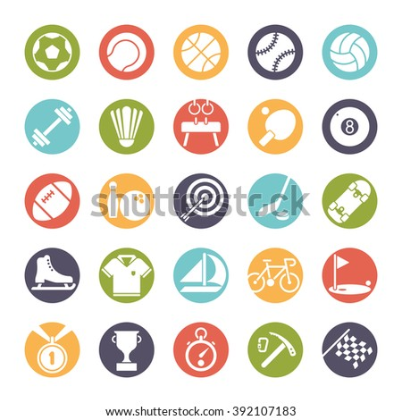 Sports and gymnastics round icon set. Collection of 25 color vector symbols in circles