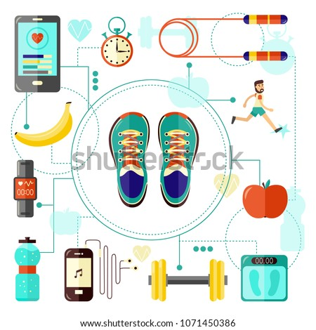 Sports and healthy lifestyle banner with sneakers top view and various sport equipment, jogging man and diet food for training and doing workout on white background. Isolated flat vector illustration.