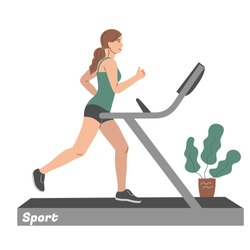 Sports at home. A girl runs on a treadmill. Vector flat illustration