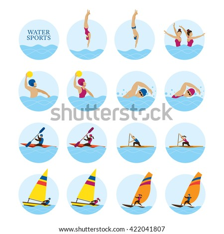 Sports Athletes, Water Sports Icons Set, Games, Action, Exercise