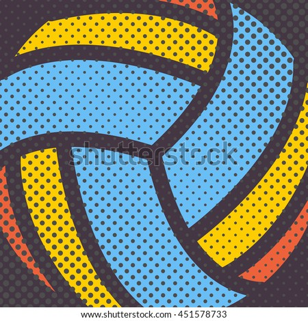 Sports background Ball for the game of volleyball, halftone effect and a place for you to text, vector illustration.