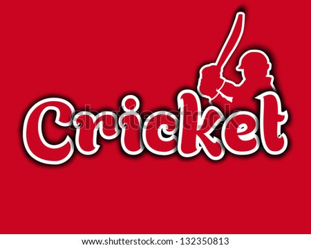 Sports background with text cricket and silhouette of a batsman.