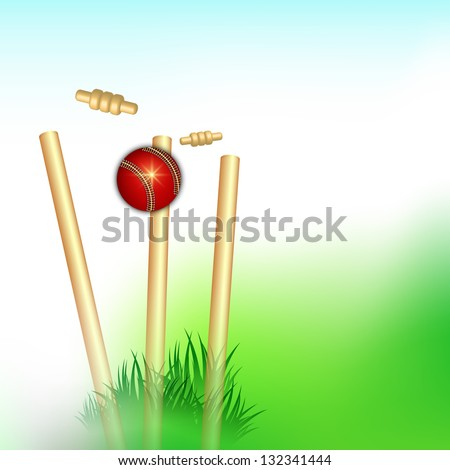 Sports background with wicket stumps and cricket ball.