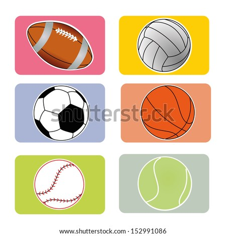 sports ball on squares with different color