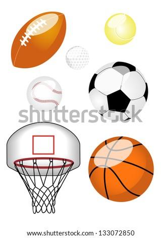 Sports Ball Set Set of six sports balls including American football, tennis ball, baseball, football, basketball, and basketball net.