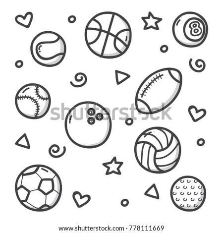 sports balls doodle illustration