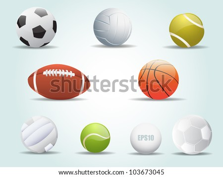 Sports Balls Icon Set Vector