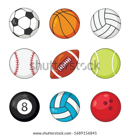Sports balls icon vector set isolated on white background. Soccer and baseball, football game, rugby and tennis.