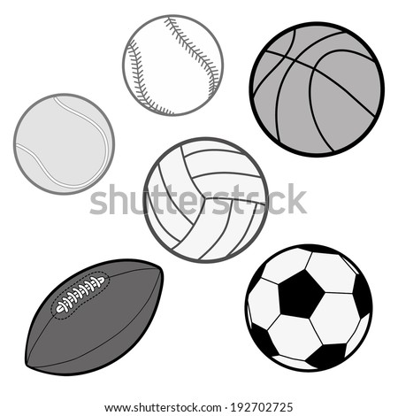 Sports Balls in grey scale (baseball, basketball, tennis ball, volleyball, rugby, soccer ball) Illustration Vector