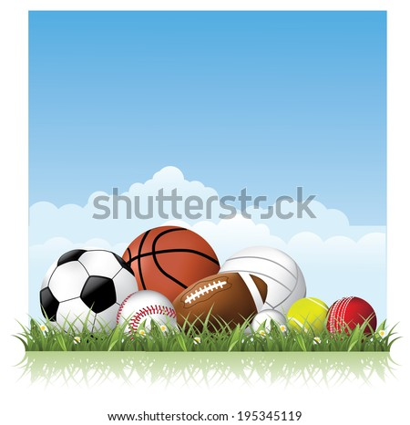 Sports balls in the grass. EPS 10 vector.