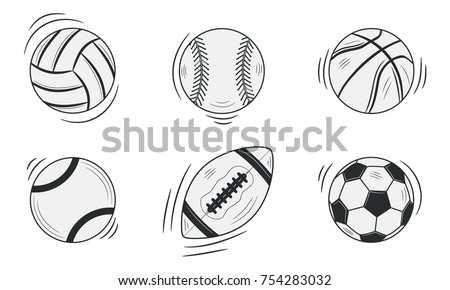 Sports balls isolated on white background. Doodle, sketch style. Vector illustration.