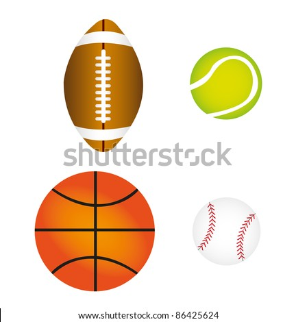 sports balls isolated over white background. vector