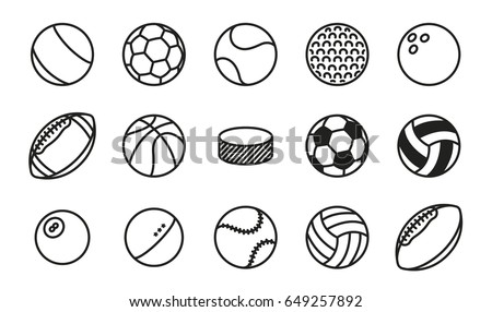 Sports Balls Minimal Flat Line Vector Icon Set. Soccer, Football, Tennis, Golf, Bowling, Basketball, Hockey, Volleyball, Rugby, Pool, Baseball, Ping Pong.