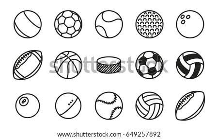 sports balls minimal flat line