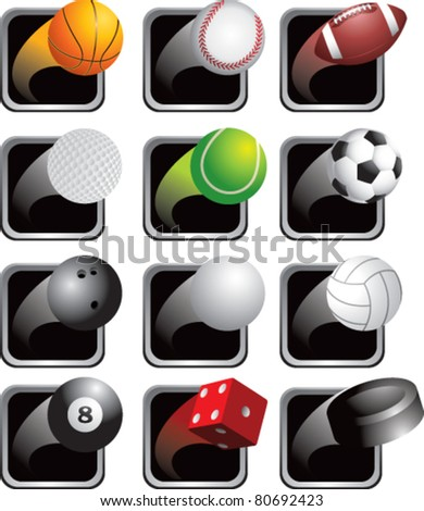 Sports balls on black square web buttons