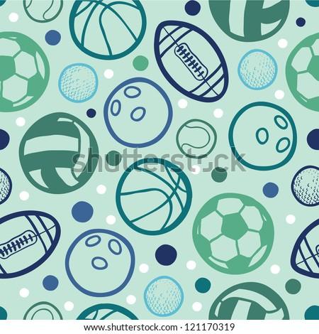 Sports balls seamless patterns backgrounds