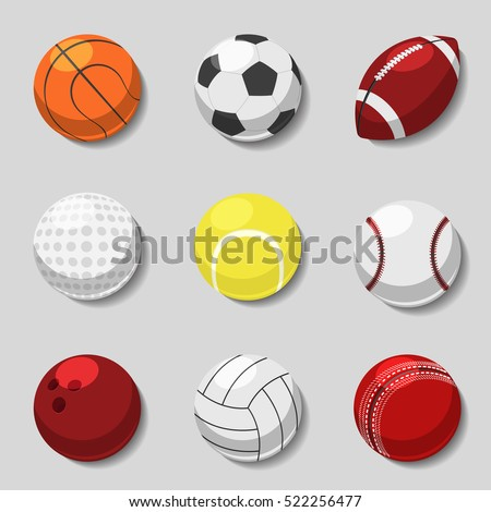 Sports balls. Vector cartoon ball set for soccer and tennis, rugby. Basketball and football balls illustration