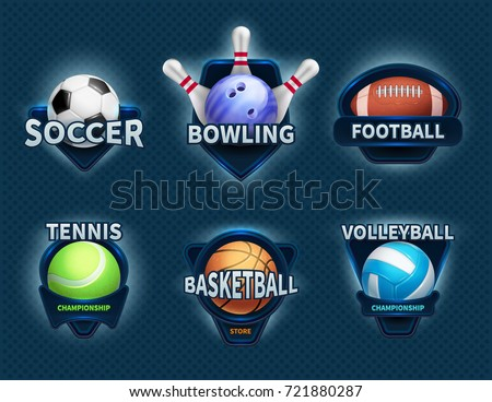 sports balls vector labels and