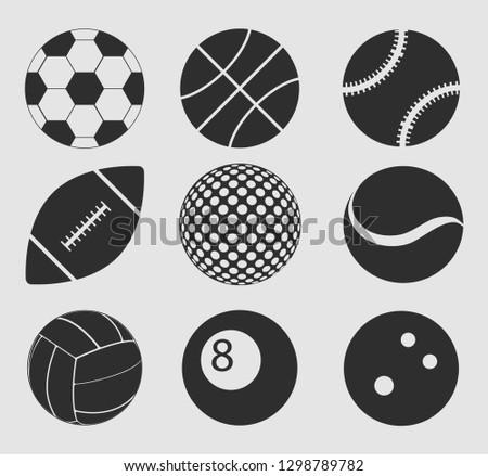 Sports balls vector set.Basketball, Baseball, American football, Volleyball, Soccer ball, Tennis ball.Bowling ball.Billiard ball.Cartoon balls icons.