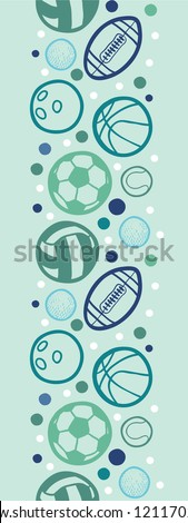 Sports balls vertical seamless pattern background border