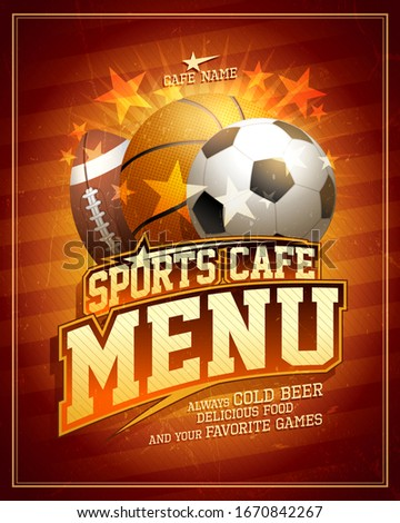 Sports cafe menu card design with football, basketball and rugby balls and shiny stars elements