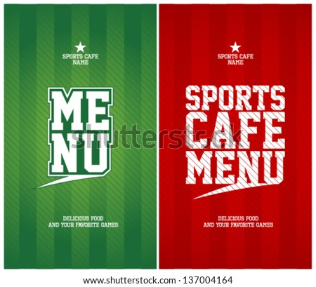 Sports Cafe Menu Cards Design Template.