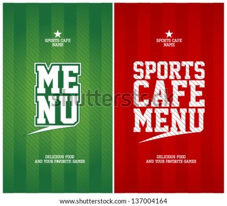 Sports Cafe Menu cards design template.