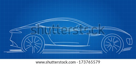 sports car sketch blueprint