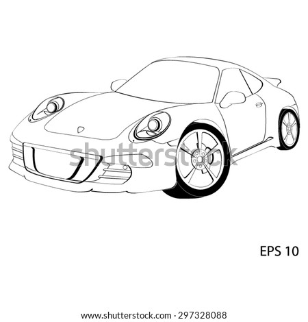 Sports car, the Porsche 911. Vector illustration