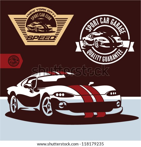 Sports car vector. Sports car club emblem, label and stamp set.