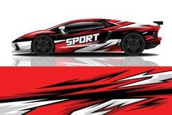Sports car wrapping decal design