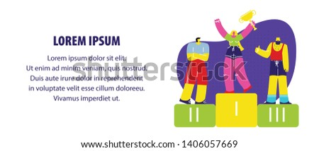 Sports Competition Award Ceremony Flat Web Banner. Winner Standing on Podium, Holding Golden Trophy. Sportsmen and Sportswoman Champions. Woman Getting Achievement, Victory Cartoon Vector Character