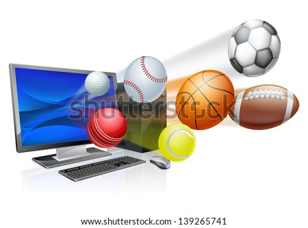 Sports computer app concept, an illustration of a pc computer with sports balls flying out of the screen