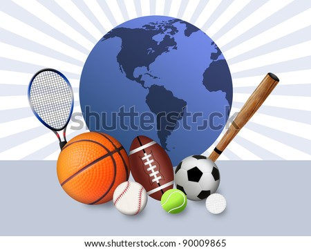 Sports concept background with sport balls and blue globe, vector illustration
