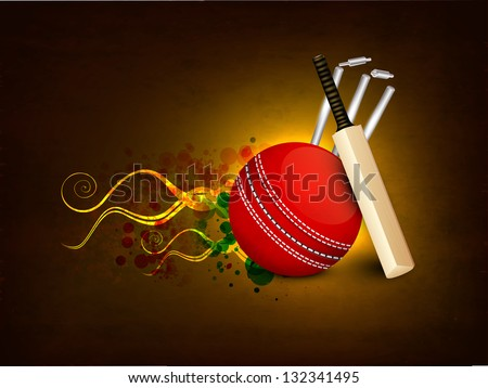 Sports concept with cricket ball, bat and wicket stumps on shiny flame background.