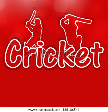 Sports concept with illustration of batsman and text Cricket on red background.