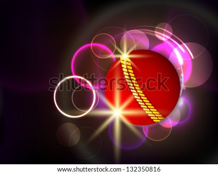 Sports concept with shiny red ball on abstract background.