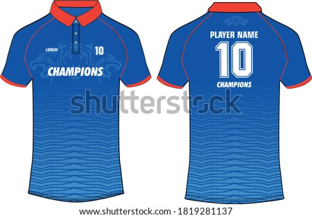 Sports Cricket t-shirt jersey design template, mock up uniform kit with front and back view