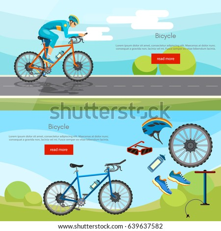 Sports cycle races concept. Cycling banner active lifestyle sport icon set bicycle riders vector