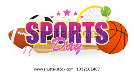 Sports Day Banner vector illustration, Text with Sport equipment isolated on white background