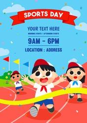 Sports Day Poster invitation vector design. Happy kids running in stadium.
