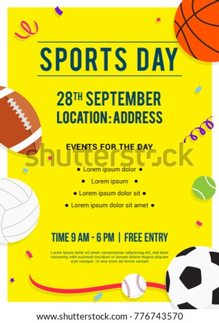 Sports Day poster invitation Vector illustration. Sport equipment on yellow background. #776743570