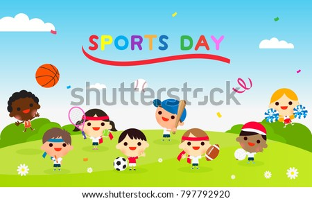 Sports Day Poster Vector illustration. Kids playing multiple sports.