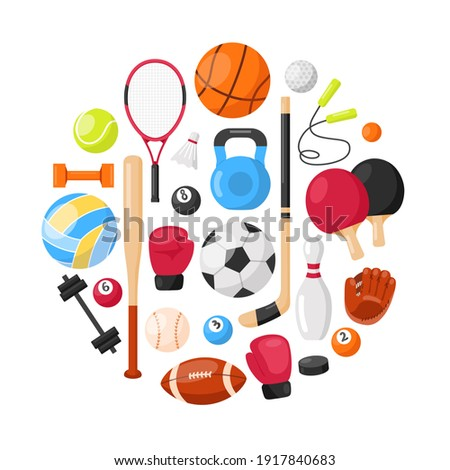 Sports equipment background. Sport concept with balls and gaming items. Balls for football, basketball, volleyball, rugby, soccer, tennis,  golf. Athletic icons. Fitness equipment in round composition
