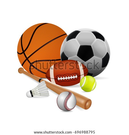 Sports Equipment. Basketball, football, tennis, rugby, badminton and baseball isolated on white background. vector illustration.
