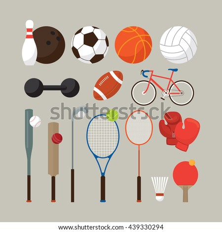 Sports Equipment, Flat Objects Set, Icons, Recreation and Leisure