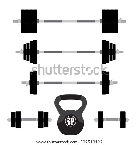 Sports equipment for fitness, workout, gym. Barbells, dumbbells, weight lifting.